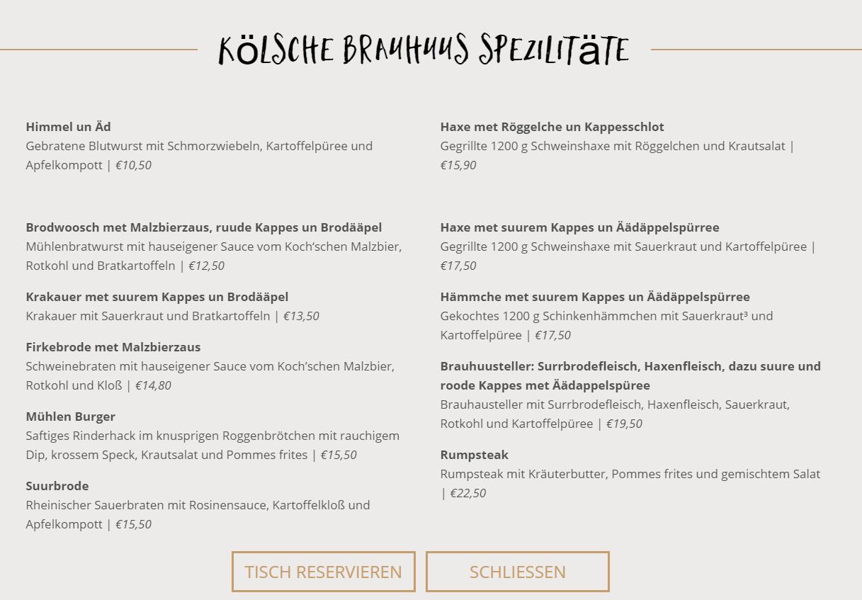 Brauerei zur Malzmühle Speisekarte by Pinature