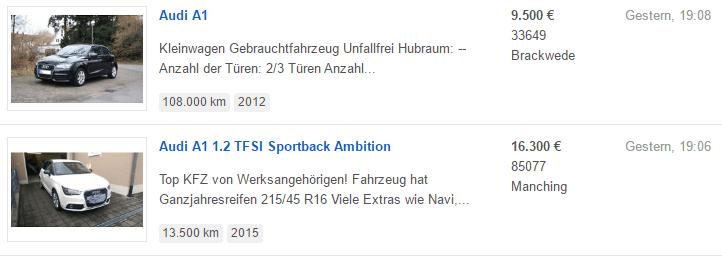 Zwei auf Ebay Kleinanzeigen geschaltete Anzeigen.