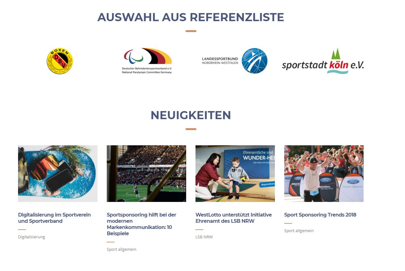 Die Sportvermarkter Referenzen Layout