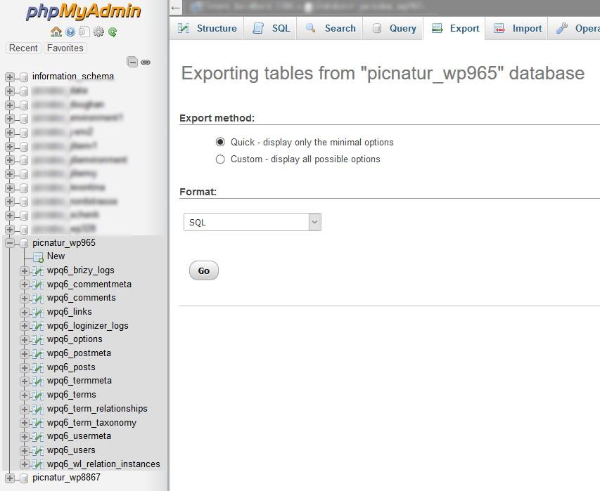 In phpMyAdmin Datenbanken exportieren